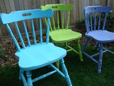 Shabby Chic Coloured Chairs #interiors