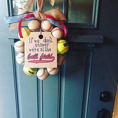 Baseball Wreath, Burlap With Initial Made Using Real Leather Baseballs Softball Wreath, Baseball Wreaths, Painted Wooden Signs, Wooden Tags, Burlap Ribbon, Burlap Wreath, Baseball Party Supplies, Baseball Nursery, Wooden Initials