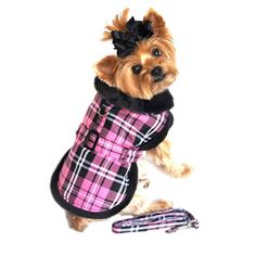 Doggie Design Plaid Minky Fur Harness Jacket with Matching Leash in color Hot Pink Plaid