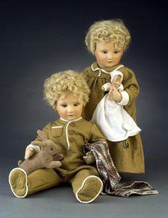 "Babes in Toyland - Michael & Lindsay 17"", molded felt, fully jointed, with felt baby doll & velveteen rabbit. Date of Release: 1984-5 Series 2, Ltd. Ed. 250."