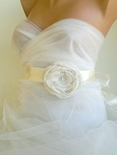 Handcrafted Fabric Flower With Rhinestone Ivory by elitewomen, $38.50