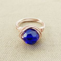 Rose Gold Ring-Gifts For Her-Electric Blue by MoonstoneandIndigo