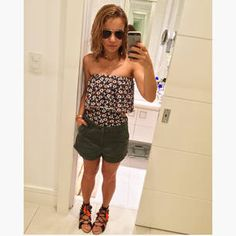 Dujour - BiancaCoimbra is wearing Vince Sandals, Forever XXI Shorts, Loja Três Swimsuit and Ray Ban Glasses