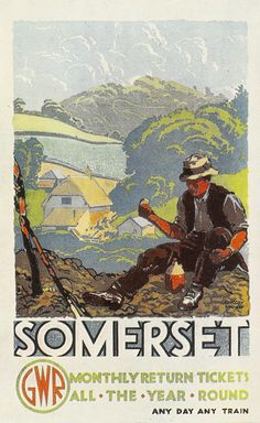"""https://flic.kr/p/85wpeo   Great Western Railway poster - """"Somerset"""" by Gregory Brown, c1935   A very traditional style of poster - by Gregory Brown - for the Great Western Railway. Somerset was one of the main areas the company 'sold' by such publicity."""