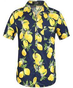 ecc6f7830d2 Men s Mango Hawaiian Button Down Short Sleeve Casual Shirt - Yellow -  CO12N23KABQ