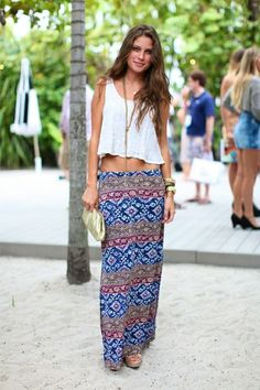 Printed Maxi, Cropped white boxy lace tee. --Only thing I would have a higher fit verses low hip.  I still love it!!