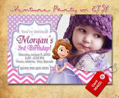 Sofia the First invitation for Sofia birthday for by iVentureParty, $10.00