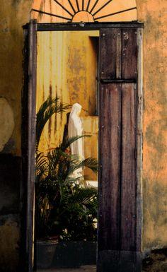 Madonna church Cuba  An open door at a church in Cuba - ms.