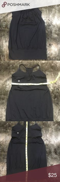 """Lululemon No Limits Tank with Built-In Bra Solid black """"No Limits"""" Tank. Small amount of wear on the upper back straps otherwise great condition. As with most lulu items, the size tag was removed. Based off measurements this is a size 4 however; measurements are included in the pictures for your review. Let me know if you have any questions! lululemon athletica Tops Tank Tops"""