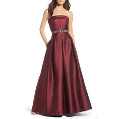 Women's Eliza J Embellished Belt Strapless Gown (3.356.680 IDR) ❤ liked on Polyvore featuring dresses, gowns, wine, red strapless gown, circle skirt, strapless evening dresses, red dress and wine red dress