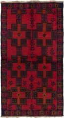 Bahor tribal rugs are primarily handwoven by Pashtun and Baluch tribes in eastern Afghanistan. These area rugs have a predominanetly intricate geometric design, borrowing largely from Turkoman and Tajik tribal influences. Bahor rugs are very durable and mostly come in smaller sizes.<br /><br />   - Field Color: Red<br />   - Border Color: Dark Brown, Light Brown, Navy, Red