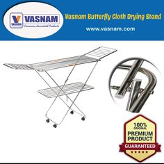 The multi-purpose drying rack provides a handy shelf for laying sweaters out flat to dry, which helps maintain their original shape. Expandable laundry rack with multiple bars for hanging clothing, hangers and clipping clothes pins. Cloth Drying Stand, Aluminium Ladder, Laundry Rack, Hangers, Purpose, Shelf, Household, Engineering, Butterfly