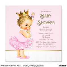 Princess Ballerina Pink Gold Baby Shower Invitation