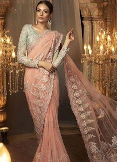 Maria B Chiffon Saree Collection Eid 2018 USA, UK, Canada, Australia. Buy Chiffon Embroidered Sarees from Maria B with Stitching. Pakistani Dress Design, Pakistani Bridal, Pakistani Dresses, Indian Dresses, Indian Saris, Pakistani Clothing, Bridal Lehenga, Indian Bridal, Indian Outfits