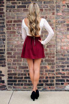 white crochet top with a wine skirt.. i like <3