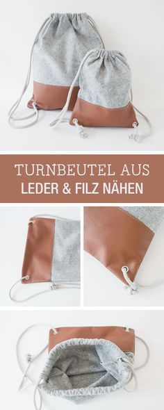 DIY-Anleitung: lässigen Beutel als Alltagsaccessoire, modernen Turnbeutel aus Leder und Filz nähen / DIY tutorial: casual tote bag as every day accessory, modern gym bag made of leather and felt via DaWanda.com