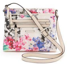 Dana Buchman Gracie Crossbody Bag, Women's, Bright Floral Print ($29) ❤ liked on Polyvore featuring bags, handbags, shoulder bags, bright floral print, pink handbags, faux leather crossbody, floral crossbody purse, crossbody purse and pink crossbody purse