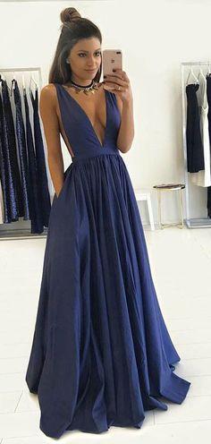 prom dresses.long prom dresses,v-neck prom dresses,sexy prom dresses,dark blue prom dresses