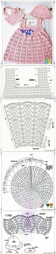 Crochet Baby Dress Crochet Baby Dress Летний комплект Tejido paso a paso…… Crochet Summer Dresses, Baby Girl Crochet, Crochet Baby Clothes, Crochet For Kids, Dress Summer, Dress Beach, Boho Dress, Crochet Chart, Crochet Lace