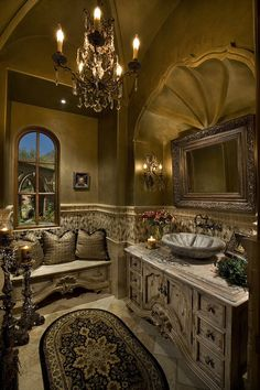Tuscan style grand master bathroom