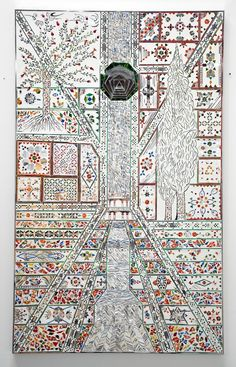 Monir Shahroudy Farmanfarmaian, Shazdeh's Garden (2), 2010 (mirror and reverse glass painting on plaster and wood).