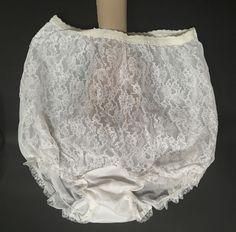 206901921612 Sheer Nylon Panties Lace Front Double Mushroom Gusset Henson Bride Lingerie  Sz 6 #Henson #