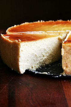 slice of lemon-ricotta cheesecake by alexandracooks