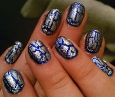Blue and Silver Crackle Nails