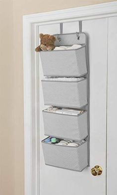 51 Creative and Practical Nursery Storage Ideas With Images Nursery Storage Organization Tips & Ideas, Small Closet Organization Hacks. Find easy ways to maximize the space of your nursery closet. Baby Room Storage, Nursery Storage, Door Storage, Bedroom Storage, Storage Ideas For Nursery, Small Room Storage Ideas, Small Nurseries, Baby Boy Nurseries, Modern Nurseries