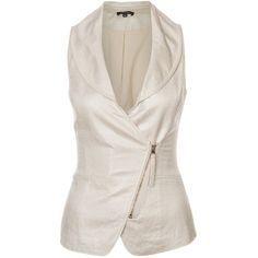 Morgan IKO Waistcoat ($59) ❤ liked on Polyvore featuring outerwear, vests, tops, coats, beige, waistcoat vest, vest waistcoat, zipper vest, beige vest and zip vest