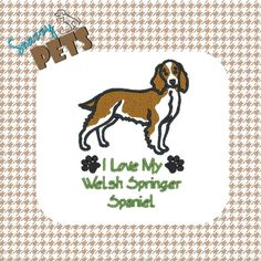 #WelshSpringerSpaniel bag I Love My Welsh Springer Spaniel embroidered on tote bag by SnazzyPets, $25.00