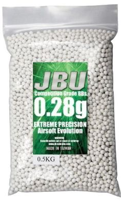 JBU BBJ28XHK Half Kilo Bag 0.28g 6mm Plastic White Airsoft BB's by JBU. $12.86. JBU 6mm Field Grade BB's are Double Polished to achieve the ultimate precision and the least possibilities of BB jams