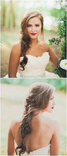 Wedding hairstyle, loose braid, red lip, romantic bridal beauty look // Click Away Photography