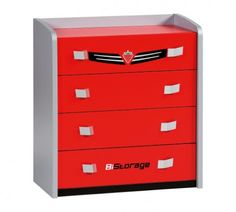 This awesome dresser has four useful drawers and is aesthetic thanks to its elegant handles and metallic details. Car Furniture, Nursery Furniture, Kids Car Bed, Turbo Car, Kids Dressers, Kids Bookcase, Car Themes, Chest Of Drawers, Filing Cabinet