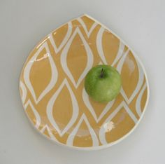 I think I might be happier if I could eat lunch on this plate. Appetizer plate Tumeric  yellow mod ornate by CeramicaBotanica, $32.00