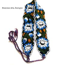 Mint Flowers Mexican Embroidered Belt por MexicanartDesigns