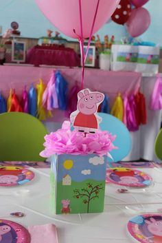 Fun centerpiece at a Peppa Pig birthday party! See more party ideas at CatchMyParty.com!