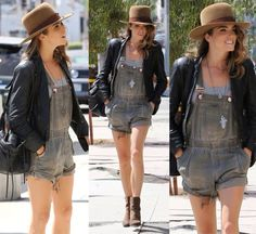 Rag & Bone 'Kinsey' boots in brown ($595): http://www.shopbop.com/kinsey-boot-rag-bone/vp/v=1/845524441956492.htm   One Teaspoon - Joker Worker Overall Shorts ($129): http://www.urbanoutfitters.com/urban/catalog/productdetail.jsp?id=33832734&parentid=SEARCH+RESULTS#/