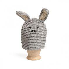 Eierwarmer konijntje, wol, blauw