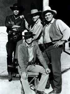 Michael Landon, Pernell Roberts, Lorne Greene, Dan Blocker in Bonanza
