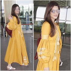 Airport Spotting ✈️ ✈️ - The gorgeous star Kriti Sanon snapped at the airport looking as bright as a sunflower. Kurti Sleeves Design, Sleeves Designs For Dresses, Kurti Neck Designs, Kurta Designs Women, Kurti Designs Party Wear, Blouse Designs, Pakistani Dresses, Indian Dresses, Indian Outfits