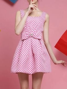 Pink Grid Pouf Dress With Bow Front | Choies