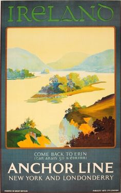 Ireland Anchor Line New York Londonderry, 1923 - original vintage poster listed…