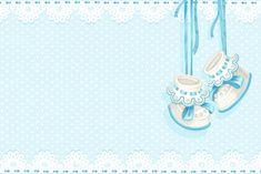 Moldura Convite e Cartão Sapatinho de Bebê Menino (Chá de Bebê):