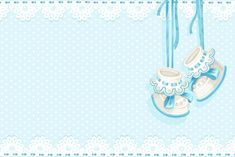 Frame and Booties Invitation Card Baby Boy (BABY SHOWER):