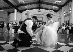 Wedding photo, garter toss