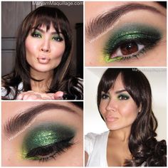 """Kiss Me, I'm Lucky"" Green glitter smokey eye for St.Patrick's Day & beyond. I'm using all @limecrimemakeup eyeshadows  @maryamnyc"