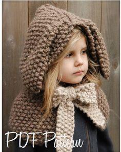 Knitting PATTERN-The Royalynn Rabbit Hood 6/9 month  12/18