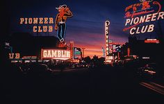 Sunset & neon in downtown Las Vegas 1953.