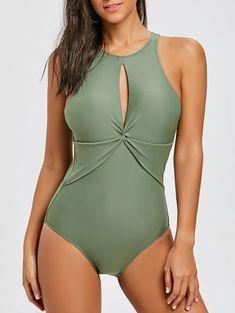 ea2493b607796 One Piece Cut Out Back Keyhole Swimsuit - OLIVE GREEN XS Swimwear Fashion